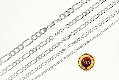 ITALY 925 SOLID Sterling Silver Diamond Cut FIGARO Chain Necklace or Bracelet