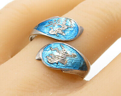 SIAM 925 Sterling Silver - Vintage Vibrant Color Ramasoon Band Ring Sz 8 - R3244