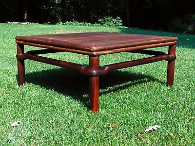 Antique Chinese Qing Dynasty Carved Huanghuali Hard Wood Corner-Leg Low Table
