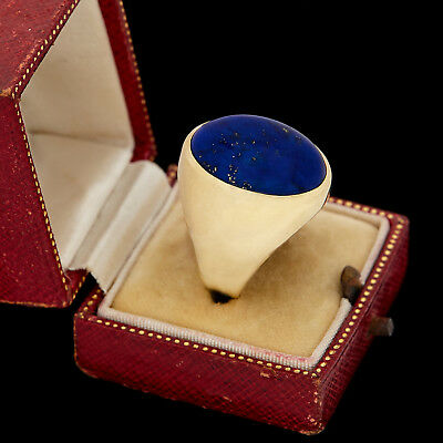 Antique Vintage Art Deco 14k Yellow Gold HUGE Lapis Lazuli Mens Band Ring Sz 9.5