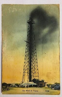 1940 Texas TX Beaumont Oil Well Vintage Old Postcard