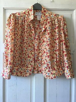Super Cute Retro Vintage Yellow Floral Print Cropped Jacket Size S (8-10)