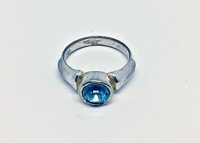 Vintage Authentic Silver Metal Ring With Glass Stone-Size 6.5