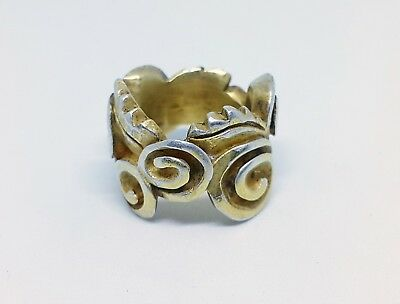 VINTAGE AUTHENTIC ABSTRACT STERLING SILVER Ag 925 GOLD GILDED RING-SIZE 7.5