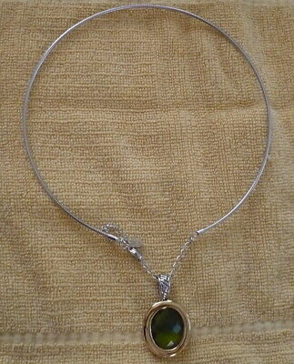 Lia Sophia,  Silver choker necklace with emerald slide,  reversible to gold