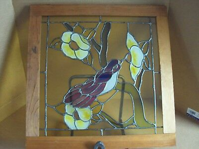 "Leaded Stained Glass Humming Bird and Flowers, Framed Window, 19 1/4"" Sq."