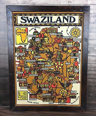 Swaziland South Africa Map Legend Framed Vintage