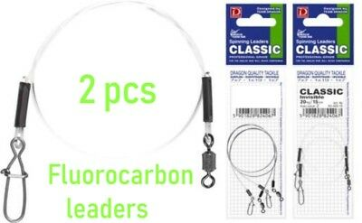 Dragon fluorocarbon leaders,invisible traces,perch,zed,lure,drop shot, 2pcs