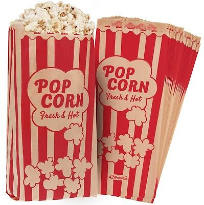 "Paper Popcorn Bags 2oz 11 X 5 X 3"" Leak/Grease Proof Vintage Retro Style"
