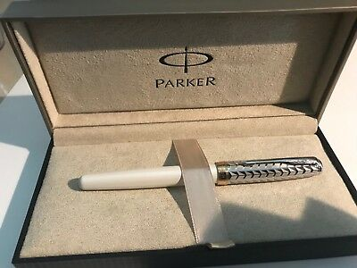 Parker Sonnet Metal and Pearl Lacquer Rollerball Pen Medium Point Model 1795252