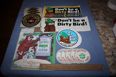 U.s. Forest Service Mid 70's Stickers, Trash Bag, Ruler, Coasters