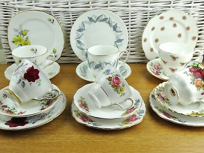 Vintage Bone China Tea Cups Saucers Plates Trios Mismatched Trios Matched