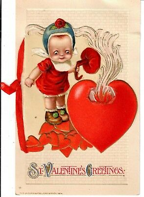 Little Girl lifting Cover of Burning Heart. John Winsch. 1914 Valentine Postcard