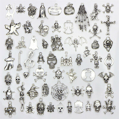 60PCS/Set Bulk Lots Tibetan Silver Mix Halloween Pendants Charms Jewelry GiftTU