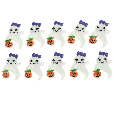10pcs Halloween Ghost Pumpkin Resin Cabochons Flatback DIY Crafts ScrapbookingTU
