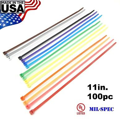 "Color Zip Cable Ties 11"" 50lbs 100pc Made in USA Nylon Wire Tie Wraps"
