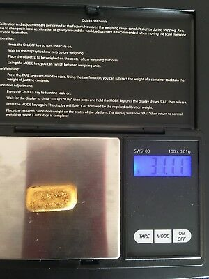 UNUSUAL OPPORTUNITY. Mini Gold Bar. Weighs 31.11 Grams. Almost 1 Ounce !