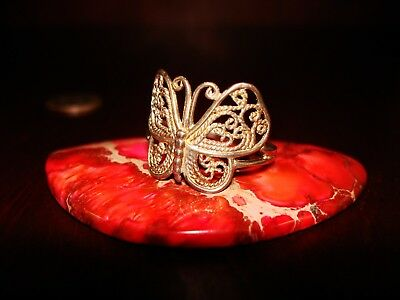 "Beautiful Vintage Sterling Silver Filigree Ring "" Butterfly"".925 Sz-11.25"