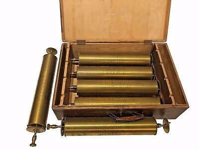 Lot of 6 Swiss Antique Music Box Cylinders in Original Box