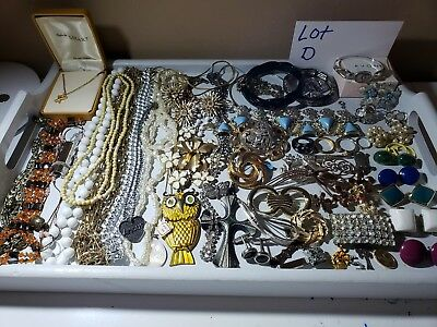 Vintage To Now Jewelry Lot Over 60 Pieces Wear, Sell, Many Signed, Lot D