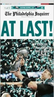 1 Philadelphia Inquirer 2/5/18 Eagles Super Bowl Champions Edition Newspaper