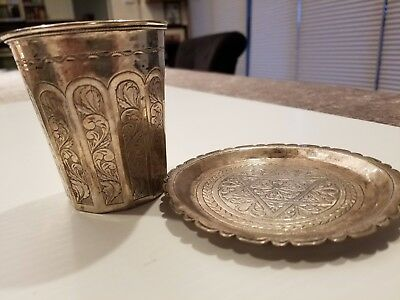 Rare And Huge Antique Judaica Silver Kiddush Cup And Underplate Iraq