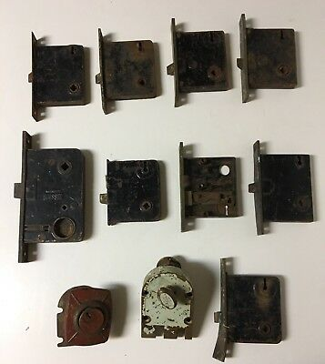Lot of 11 Antique/Vintage Mortise Door Locks(Russwin, Penn)~Hardware parts~Rusty