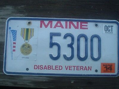 Maine Southeast Asia Vietnam war.Veteran expired License Plate
