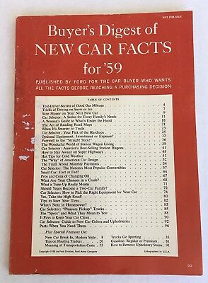 1959 Ford Motor Co Buyer's Digest of New Car Facts stats specs vehicle drawings