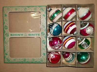 Lot of 12 Vtg Shiny Brite Glass Christmas Ornaments Striped Mica Double Indents