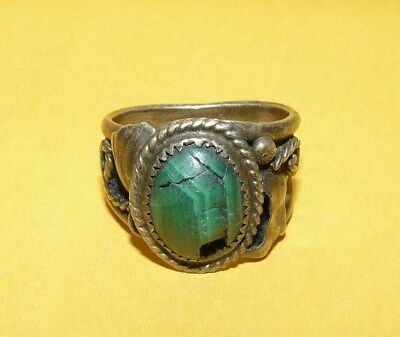 """~Vtg~Men's~Native~Navajo~""""old~Pawn""""~Sterling~Silver~Malachite~Ring~Size 12~As-Is"""