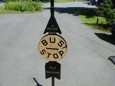 VINTAGE New York City 1940's POLICE, BUS, NO PARKING, SIGN  on EMBOSSED Base NYC