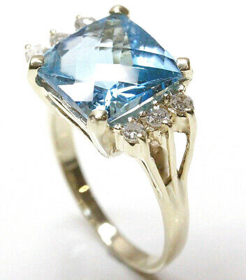 5.2 ct tw Natural Blue Topaz & Diamond Solid 14k Yellow Gold Cocktail Ring