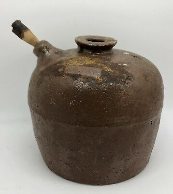 Antique Rustic Chinese Soy Sauce Brown Earthenware Pottery Jug (RF884)
