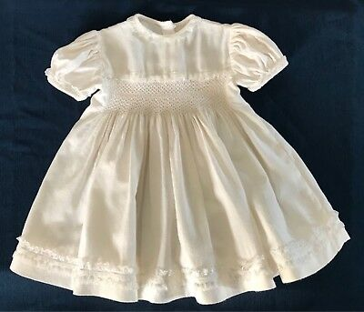 Vintage Antique Baby/Dolls Girls Dress Cream Smocked Cotton Handmade Christening