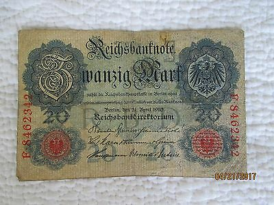 GERMANY,German Empire, 20 MARK banknote 1910
