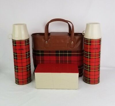 Vintage 1964 King Seeley THERMOS Picnic Set Bag Red Plaid and 2 Bottles No. 2442
