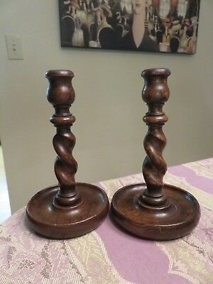"Pair Antique English Oak Barley Twist Candlesticks Candle Holders 7 7/8"" Tall"