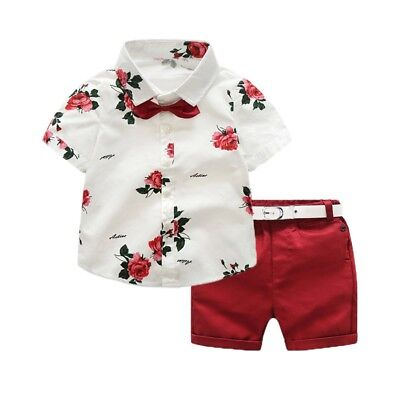 Kids Boys Summer Clothes Set Floral Short Sleeve Shirt Tops+Shorts Pants Outfits