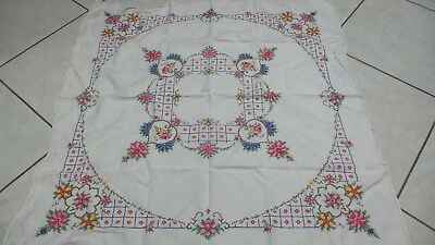 Vintage Square Embroidered Tablecloth Linen Cotton Pull Thread Cross Stitch NR