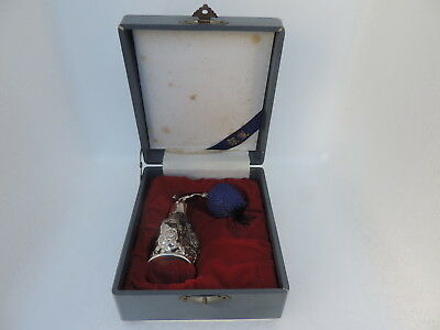 Rare Stunning Vintage Antique Japanese Sterling Silver Over Glass Perfume Bottle