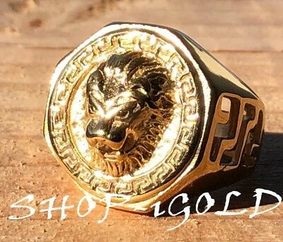 Men's Vintage Lion Head king Rings Stainless Steel Retro Gold Plated  7-11