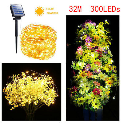 32M 300 LEDs Solar String Lights Copper Wire Fairy Lamp Outdoor Garden Wedding