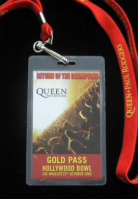 Queen Paul Rodgers Rare 2005 Hollywood Bowl Laminate Gold Backstage Pass Lanyard