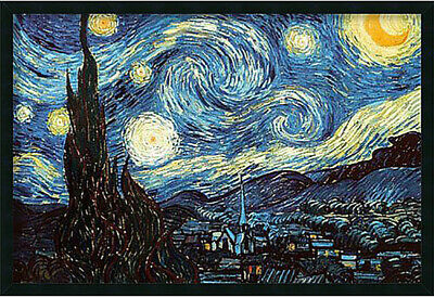 'The Starry Night, June 1889' by Vincent Van Gogh Framed Graphic Art