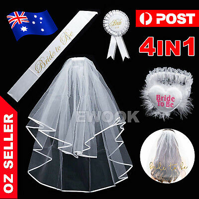 Bride To Be Hens Night Party Veil White Badge Sash Lace Garter Set Bachelorettes