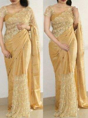 Saree Sari Indian Bollywood Ethnic Women Wear Fancy Style Wedding Designer L 10