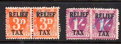 NSW ...Relief Tax...PAIRS...(3d + 1/-) overprints