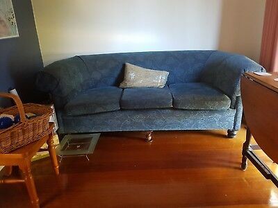 Antique 3 Seater Couch Blue