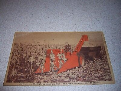 1940s ALLIS-CHALMERS TWO ROW CORN HARVESTER TRACTOR ADVERTISING POSTCARD